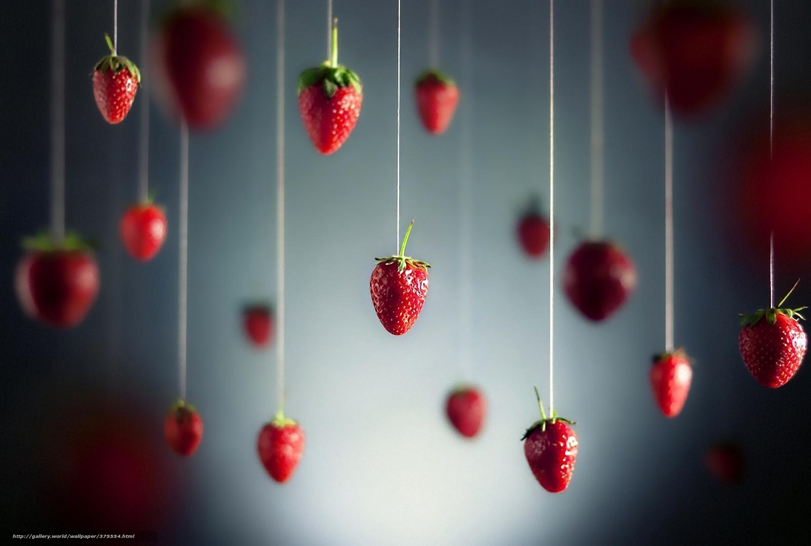 Скачать обои Нитки,  ягода,  земляника бесплатно для рабочего стола в разрешении 1920x1293 — картинка №375554