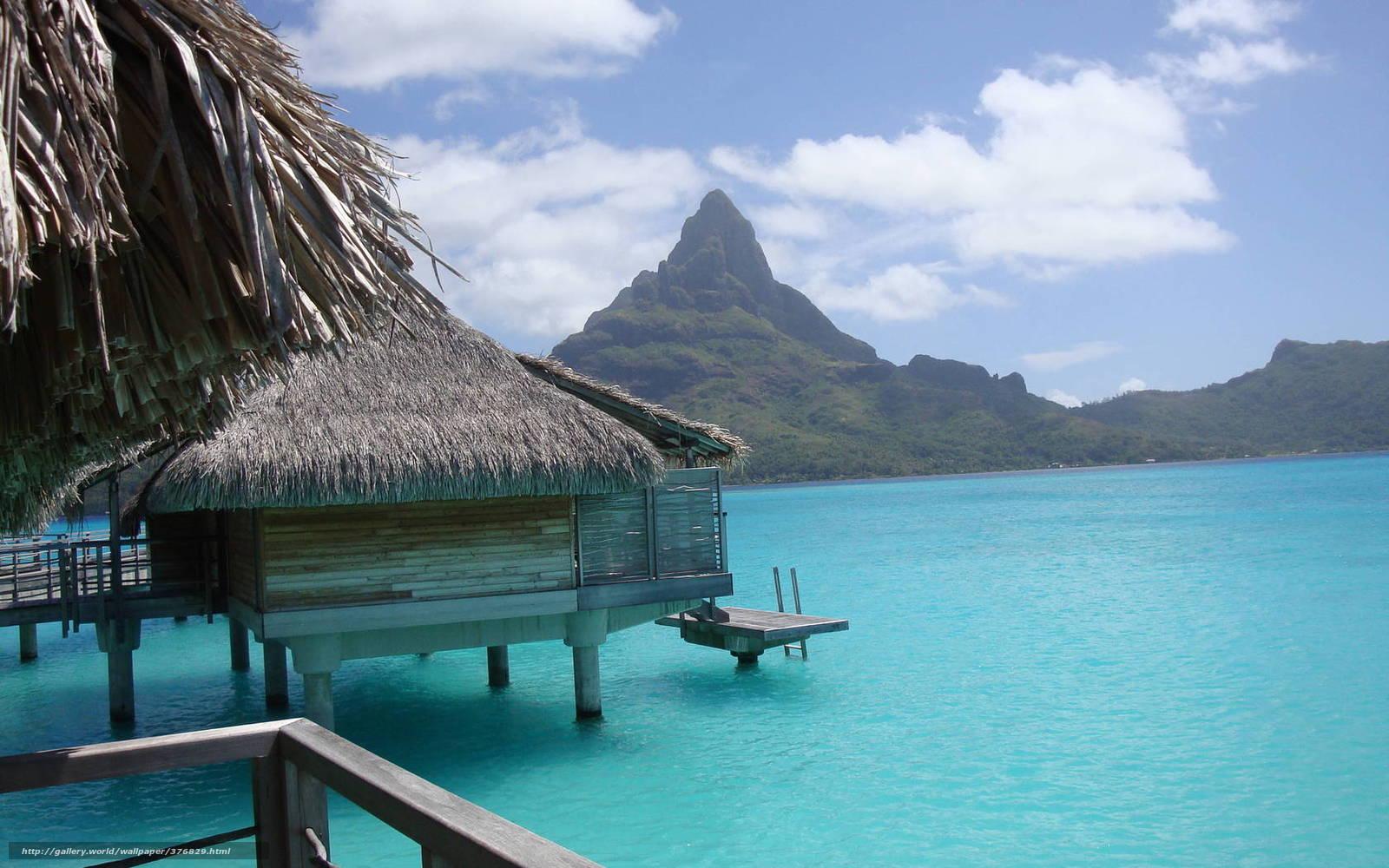 scaricare gli sfondi Bora Bora,  bungalow,  azzurro,  mare Sfondi gratis per la risoluzione del desktop 1680x1050 — immagine №376829