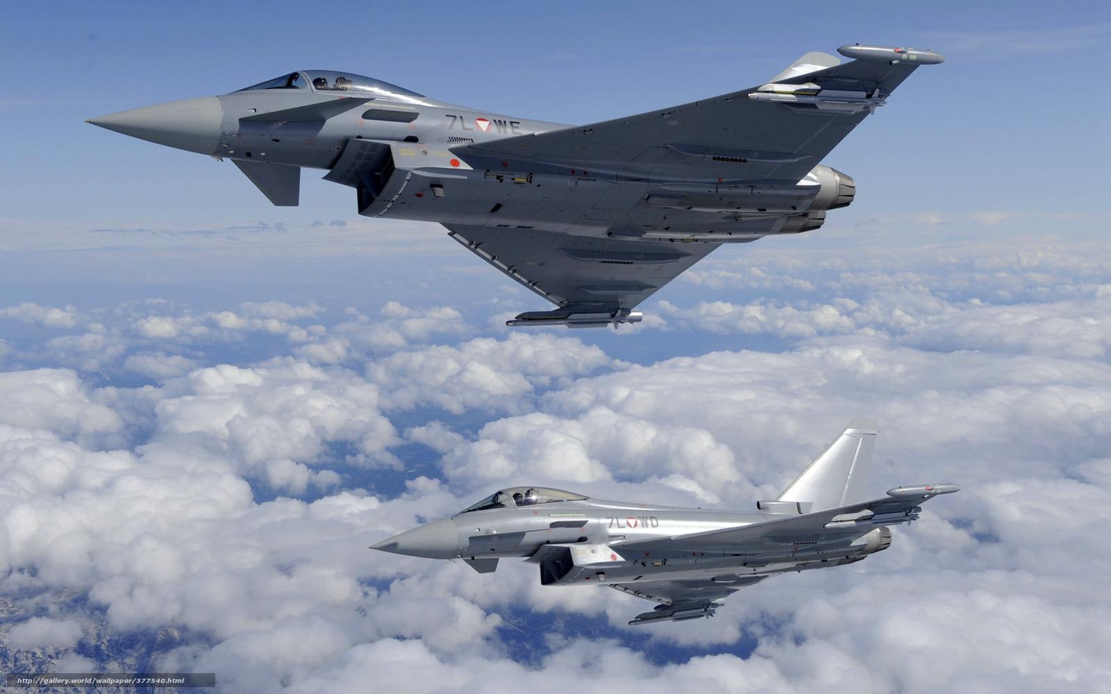 Скачать обои Истребители,  полет,  пара,  облака бесплатно для рабочего стола в разрешении 1680x1050 — картинка №377540