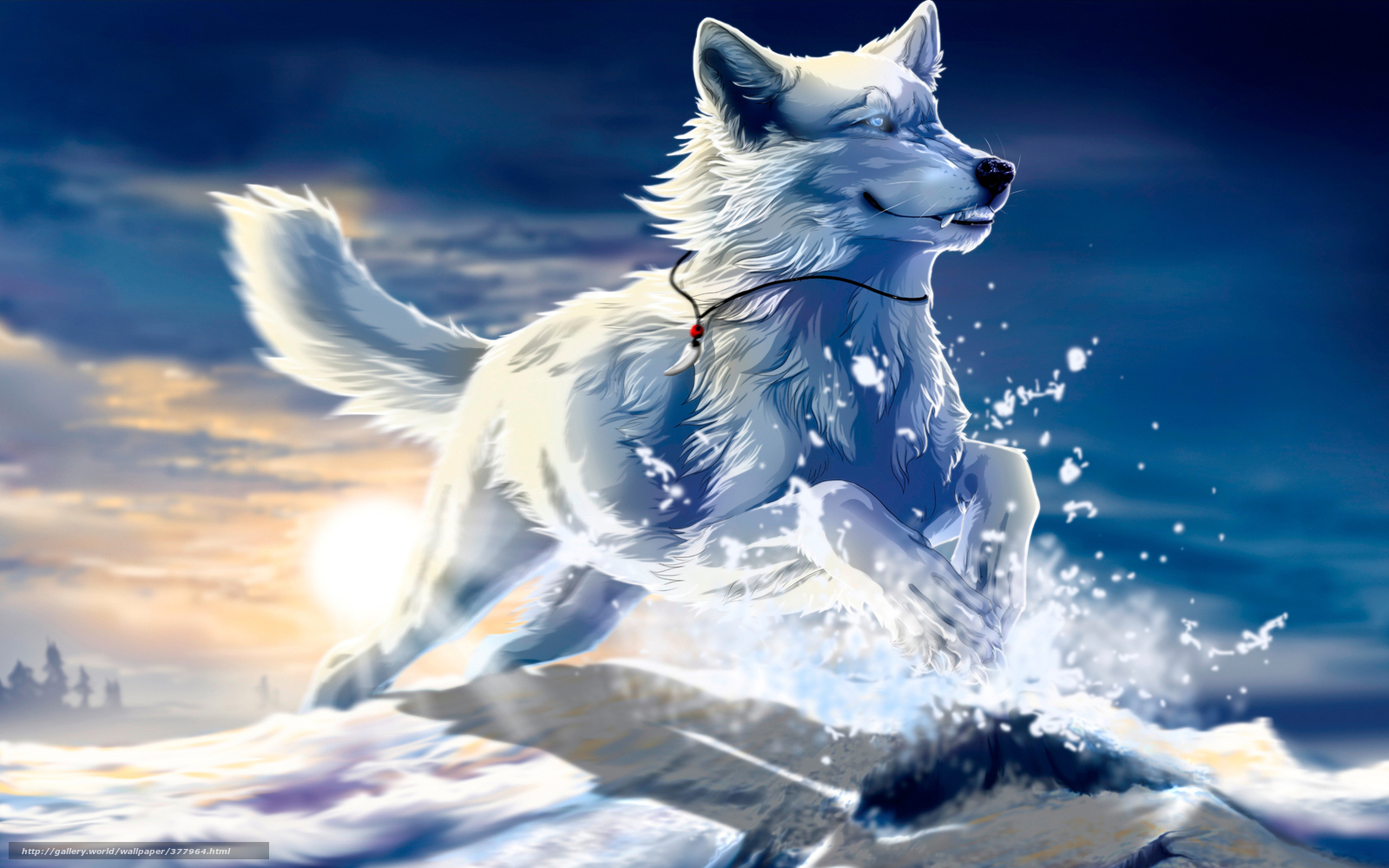 Download wallpaper wolf, white, snow, jump free desktop ...