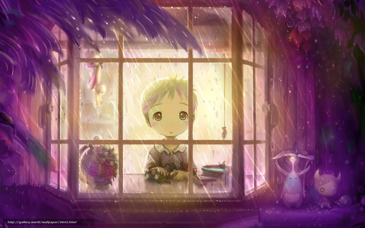 Скачать обои окно,  дождь,  мальчик бесплатно для рабочего стола в разрешении 1920x1200 — картинка №3842