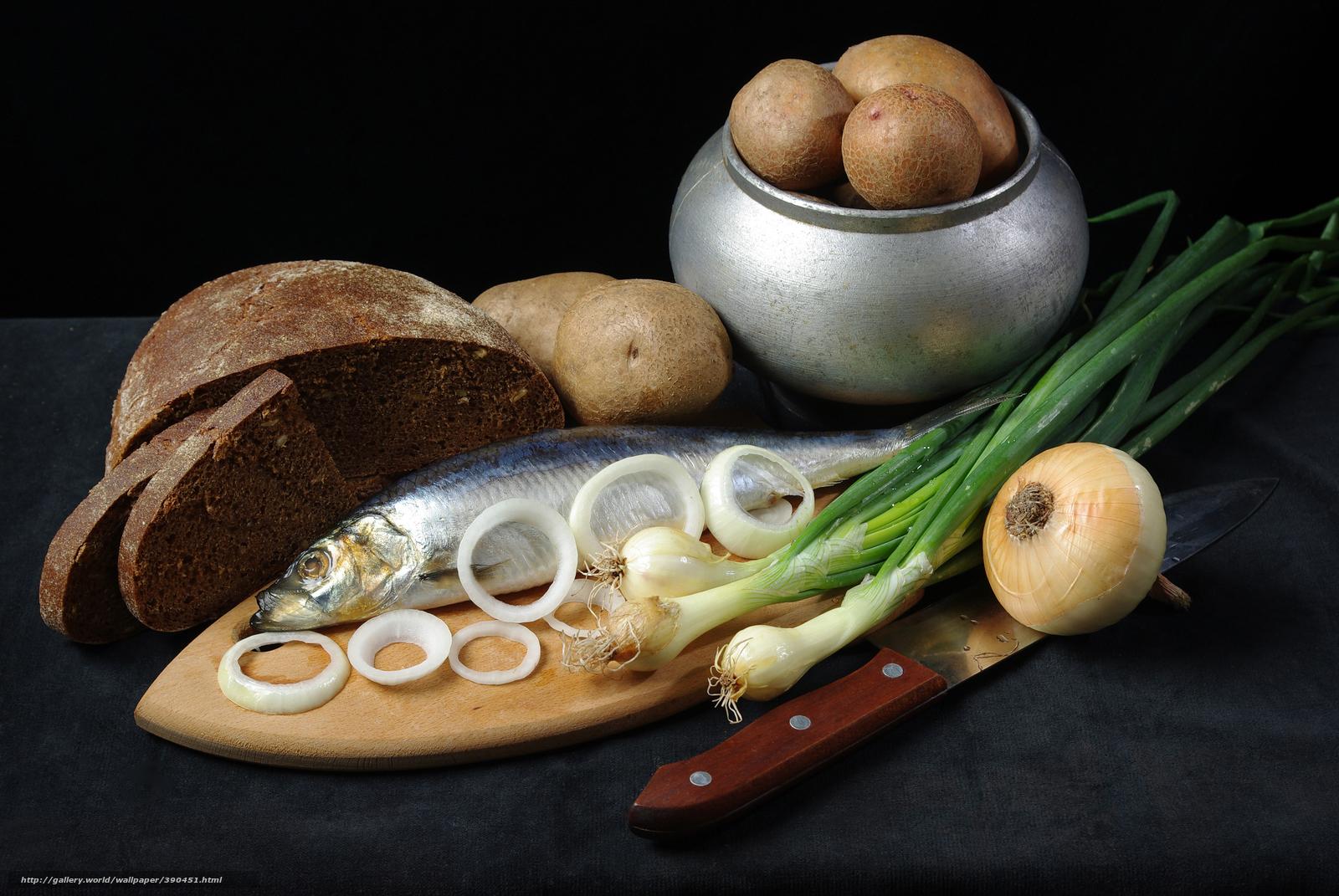 Скачать обои картошка,  горшочек,  селёдка,  лук бесплатно для рабочего стола в разрешении 8844x5920 — картинка №390451