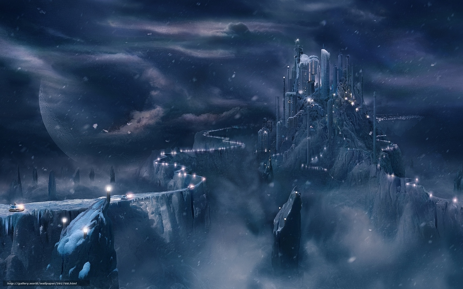 Download Wallpaper Winter Snow Clouds Planet Free