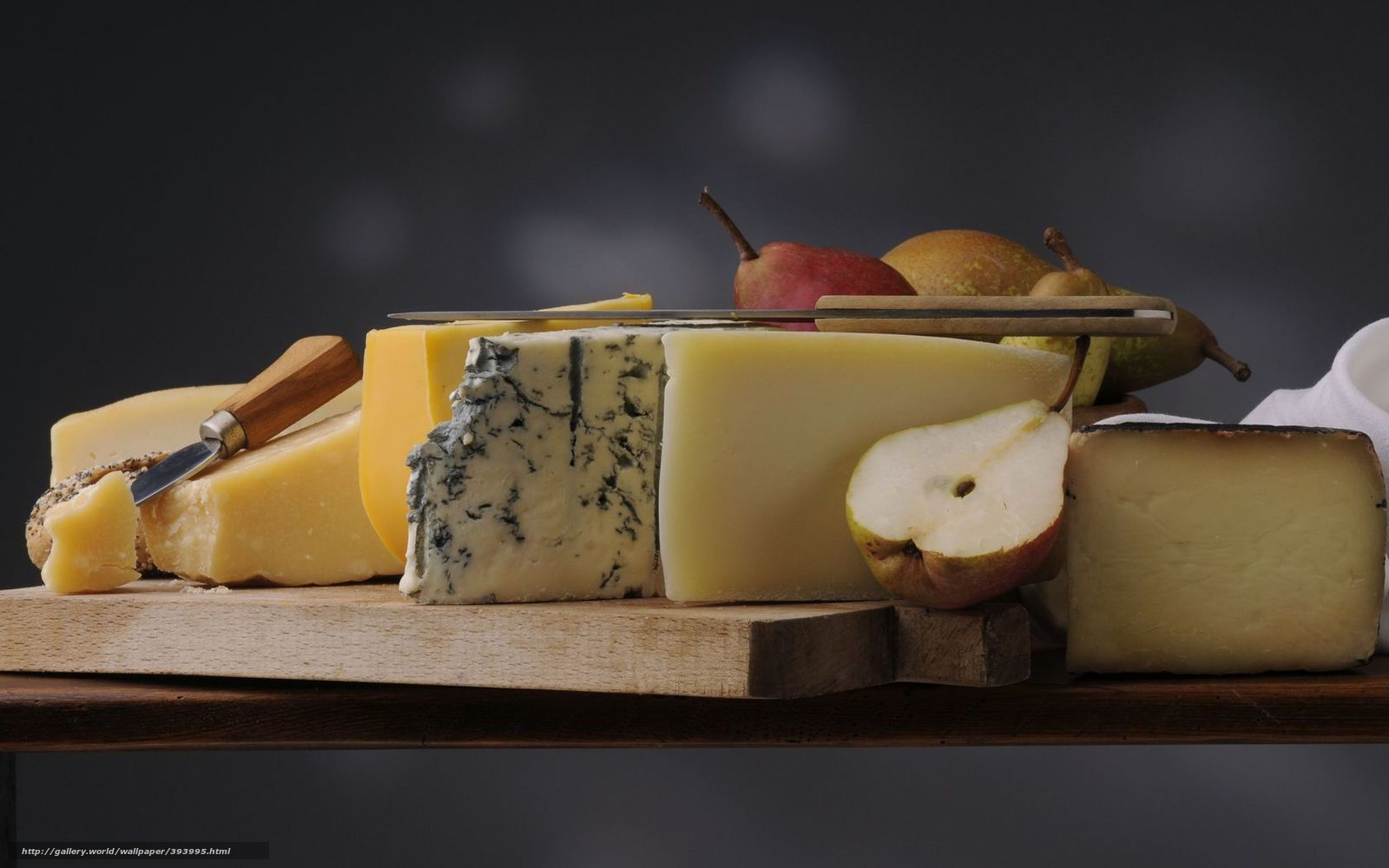 Download wallpaper cheese,  Knives,  pears,  still life free desktop wallpaper in the resolution 1680x1050 — picture №393995