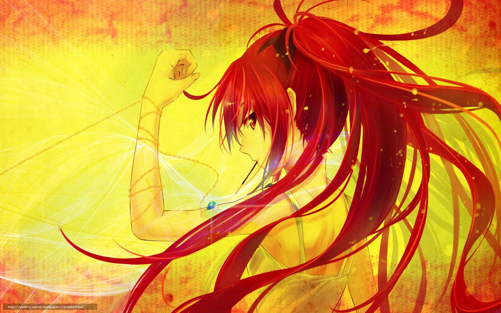 Скачать обои девушка,  красные волосы,  цепочка,  кулон бесплатно для рабочего стола в разрешении 1680x1050 — картинка №394906
