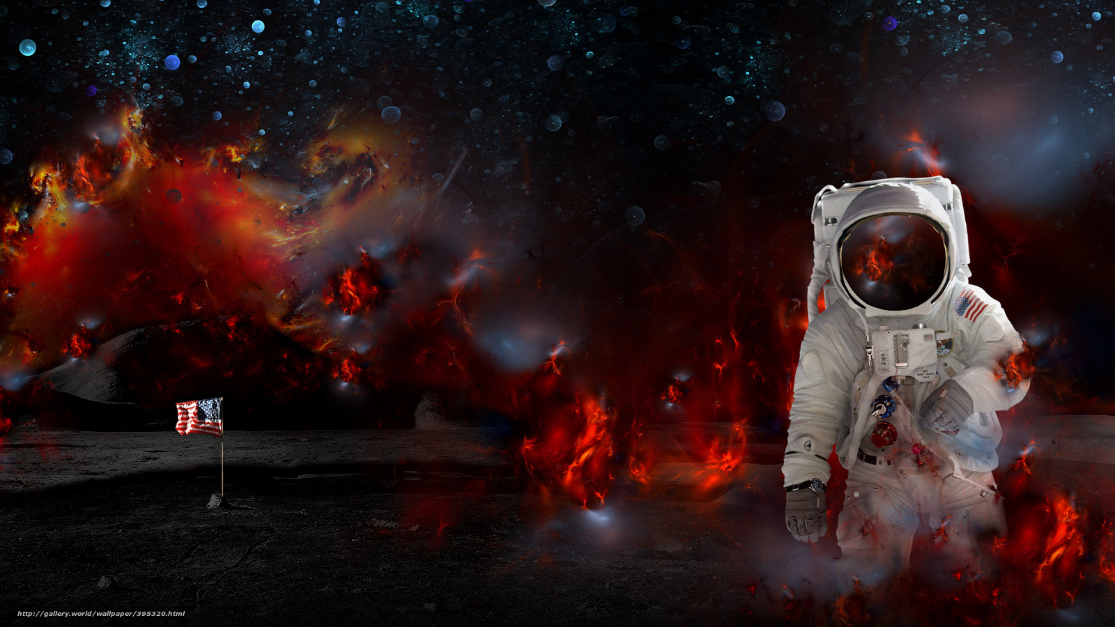 Download wallpaper moon, astronaut, nebula free desktop ...