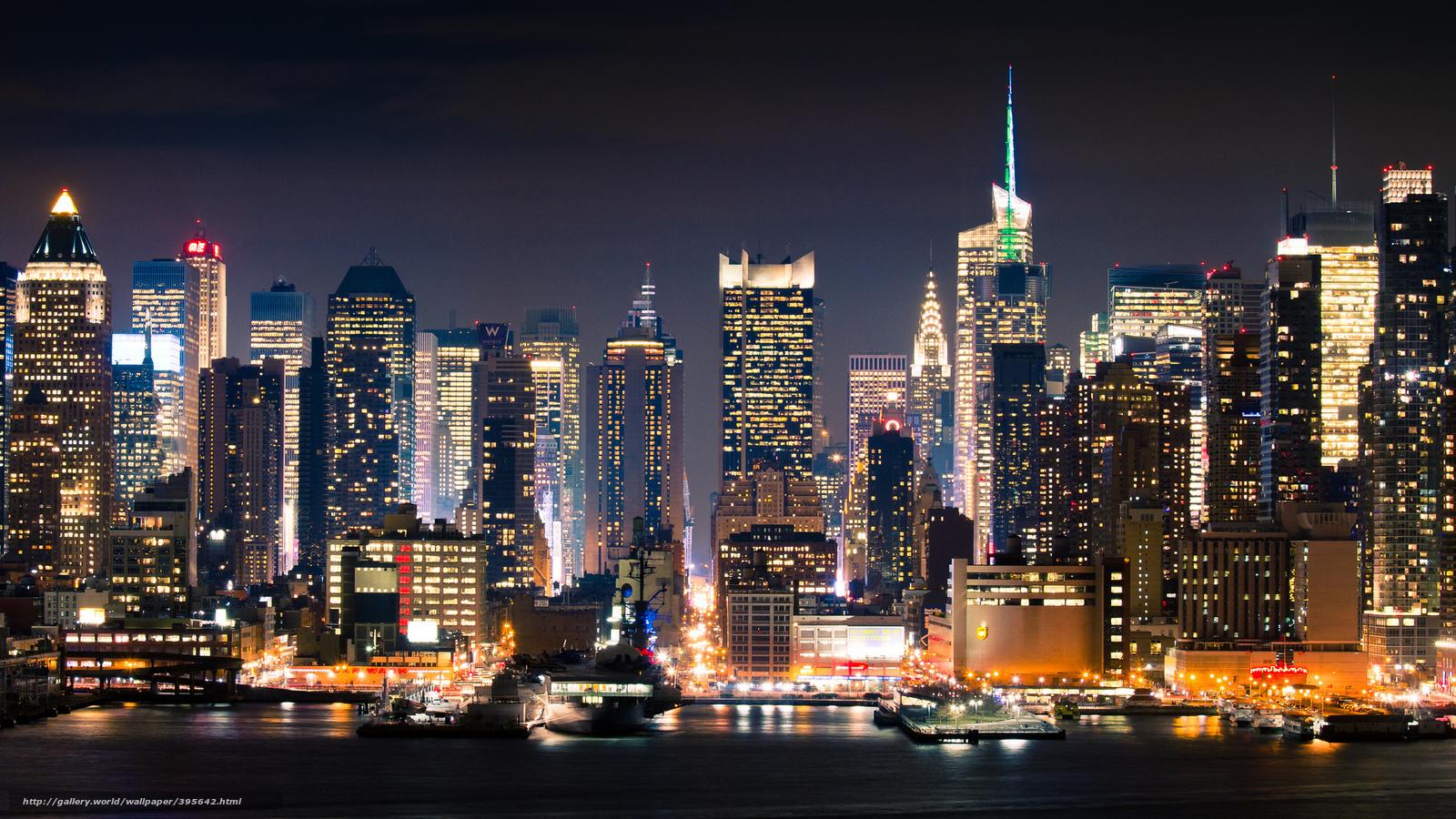 Scaricare Gli Sfondi Citt New York Manhattan Notte Sfondi Gratis Per La Risoluzione Del Desktop 2048x1152 Immagine 395642