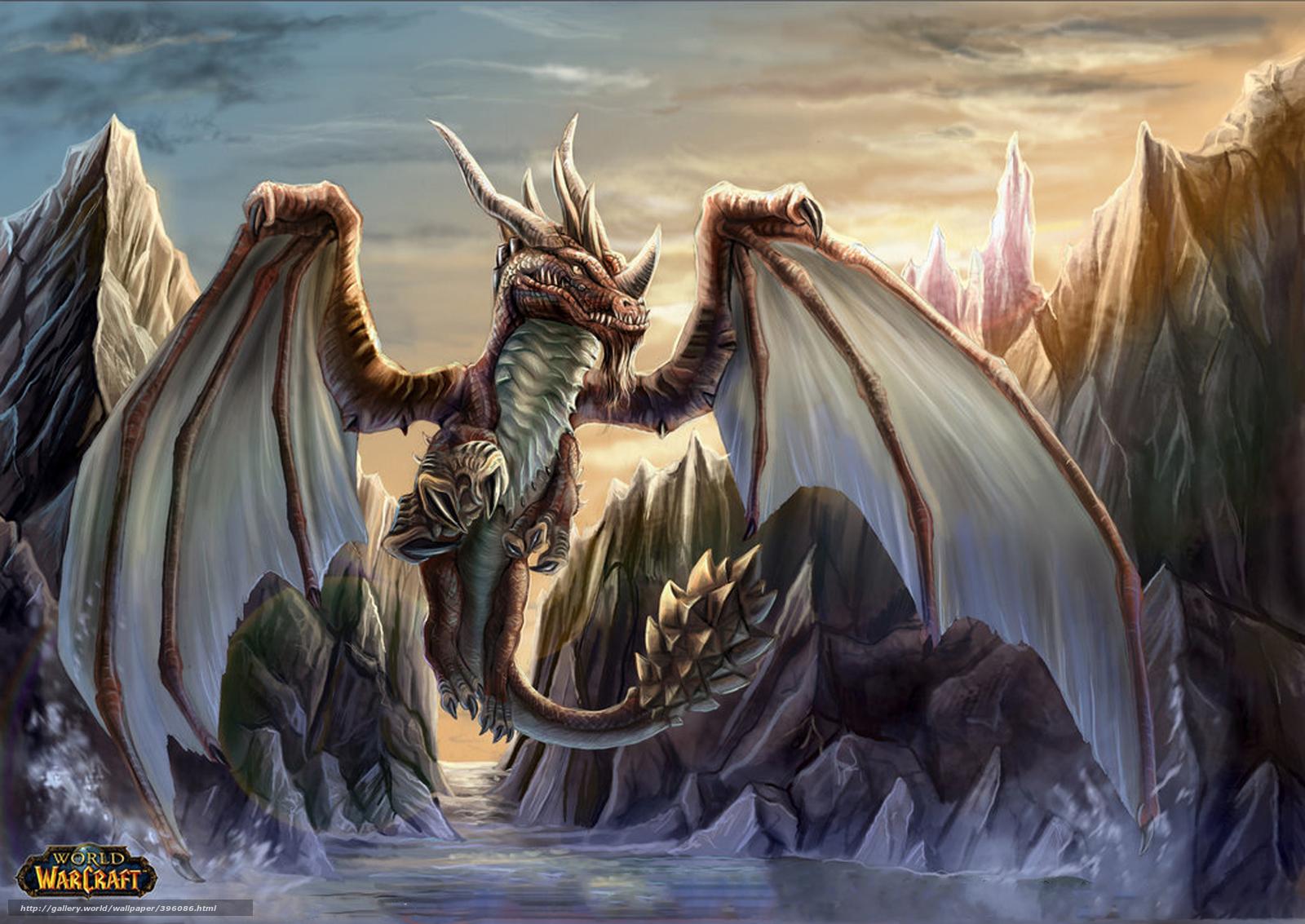 Скачать обои world of warcraft,  дракон,  игра бесплатно для рабочего стола в разрешении 1920x1359 — картинка №396086