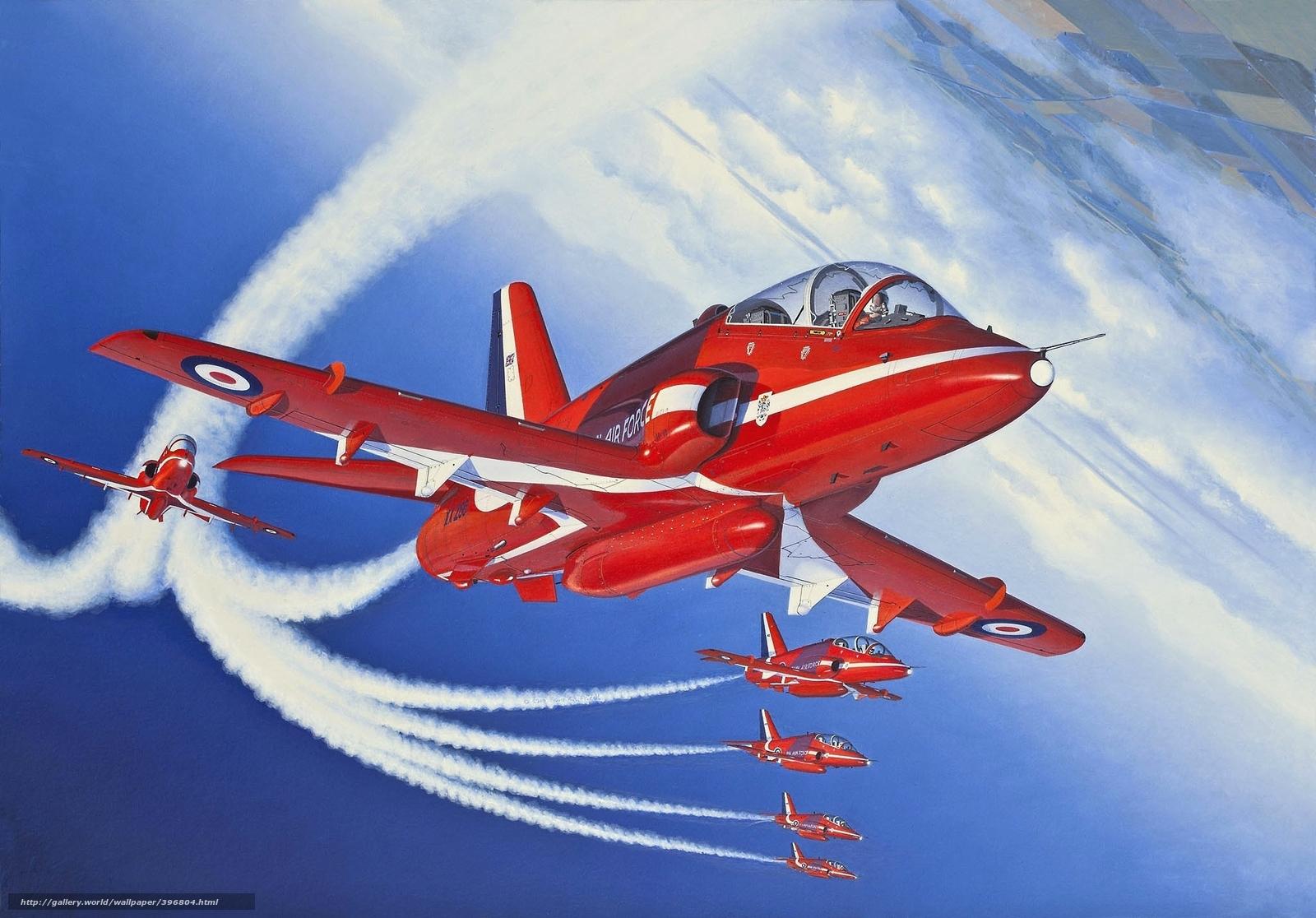 Скачать обои рисунок,  учебно-тренировочный,  самолет,  красные стрелы бесплатно для рабочего стола в разрешении 2048x1428 — картинка №396804