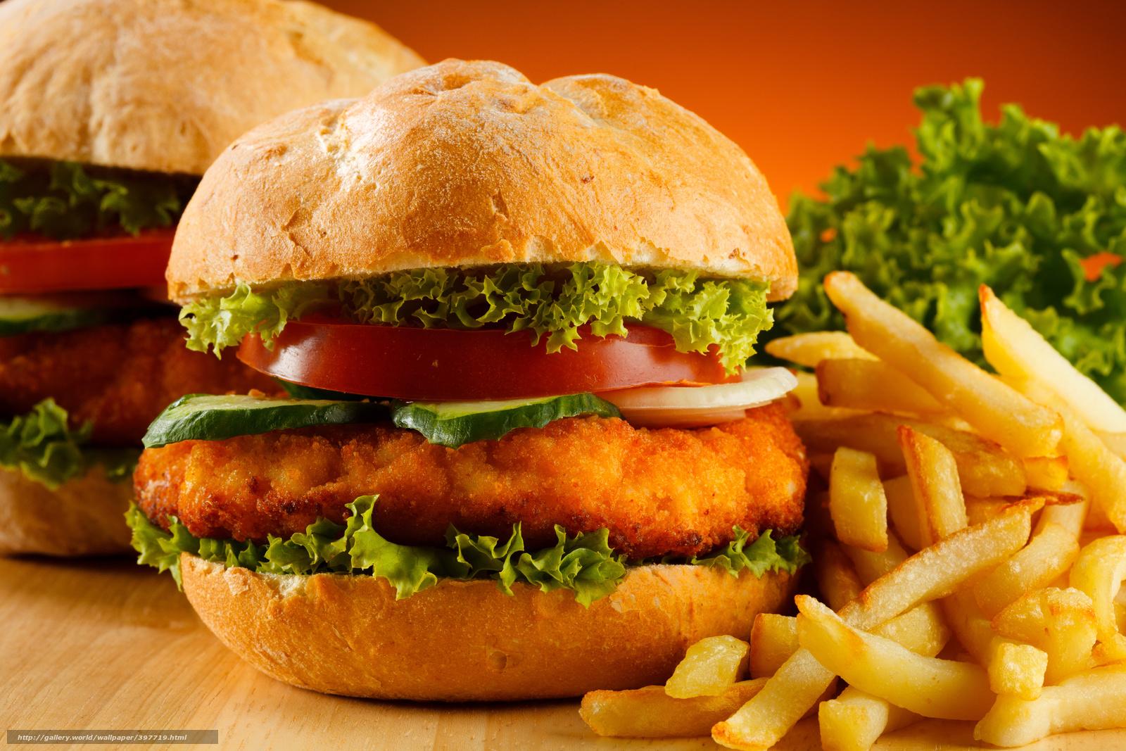 Скачать обои гамбургеры,  картофель фри,  помидоры,  огурцы бесплатно для рабочего стола в разрешении 5464x3643 — картинка №397719
