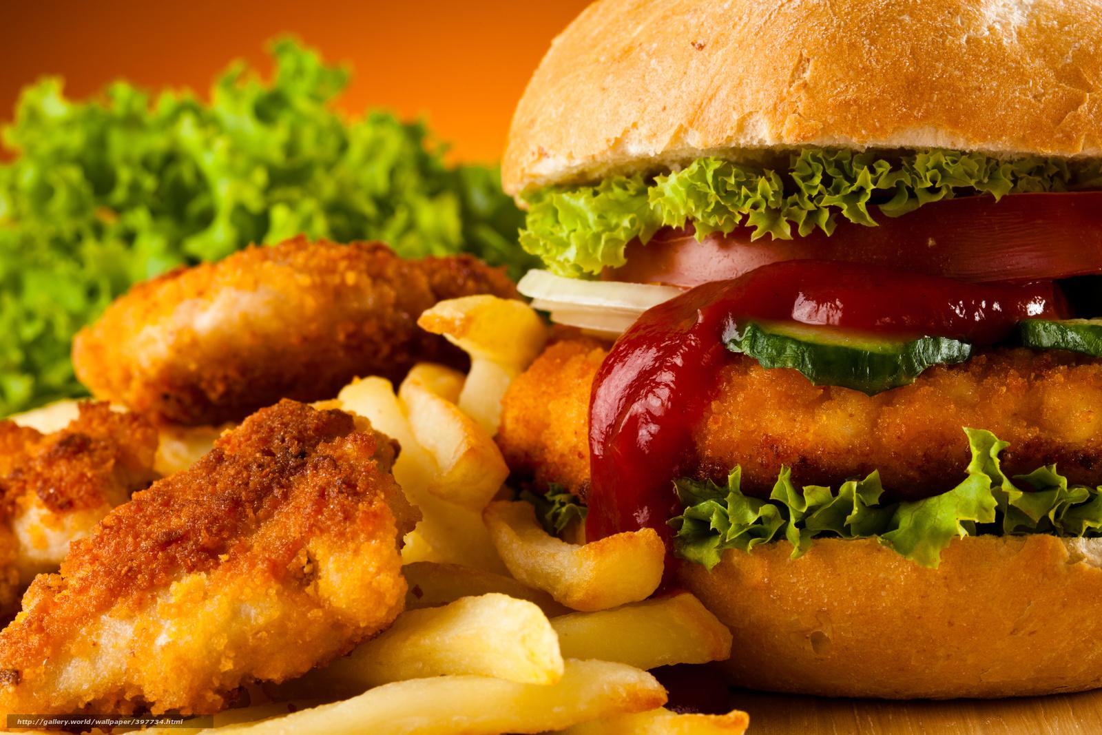 Скачать обои гамбургер,  картофель фри бесплатно для рабочего стола в разрешении 5616x3744 — картинка №397734