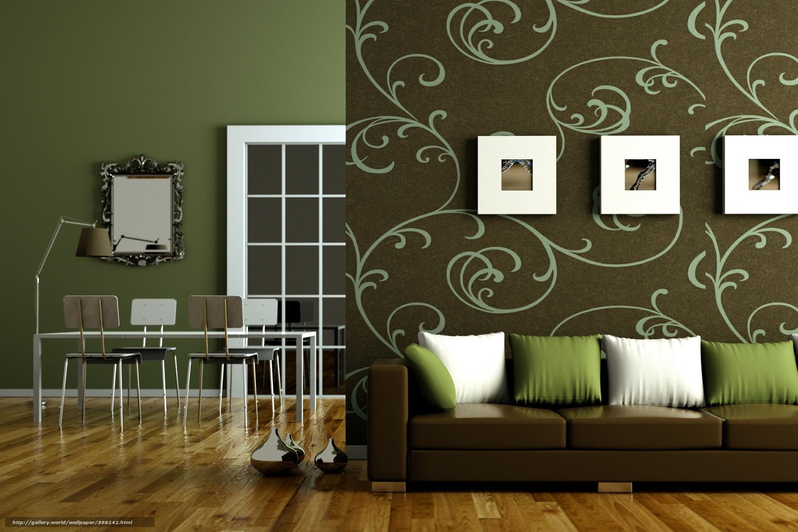 Комбинирование зеленых обоев в гостиной фото