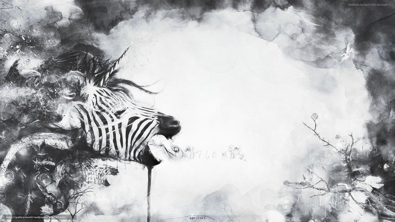 Scaricare Gli Sfondi Astrazione Zebra Unicorno Impianto Sfondi