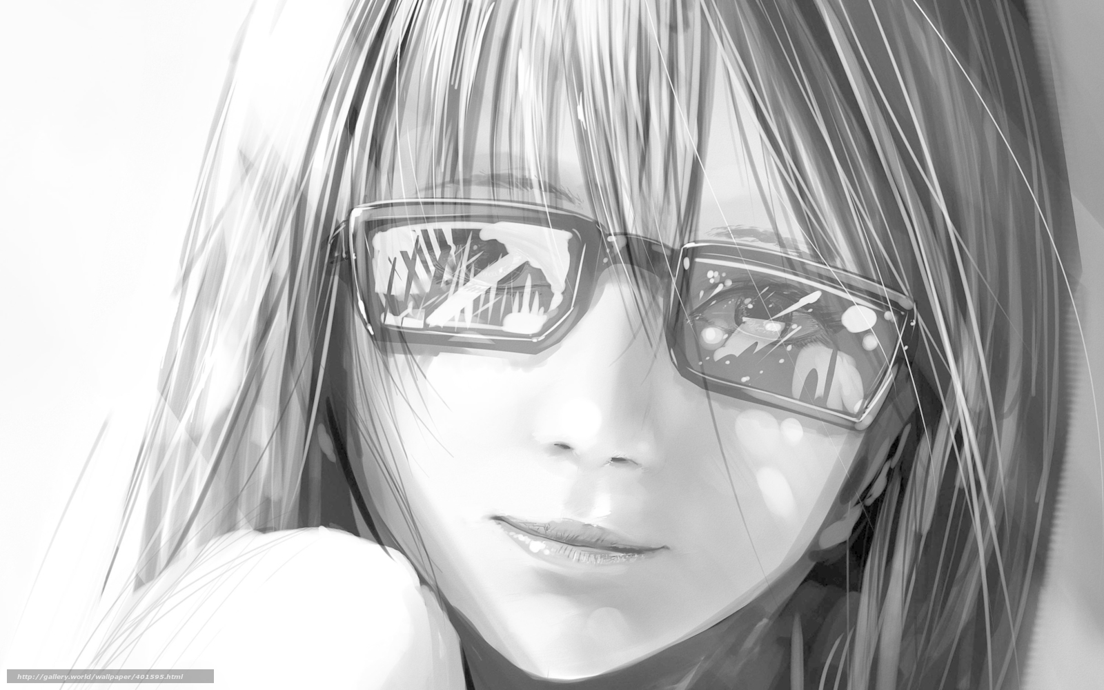 Download wallpaper girl,  smile,  black and white,  glasses free desktop wallpaper in the resolution 1680x1050 — picture №401595