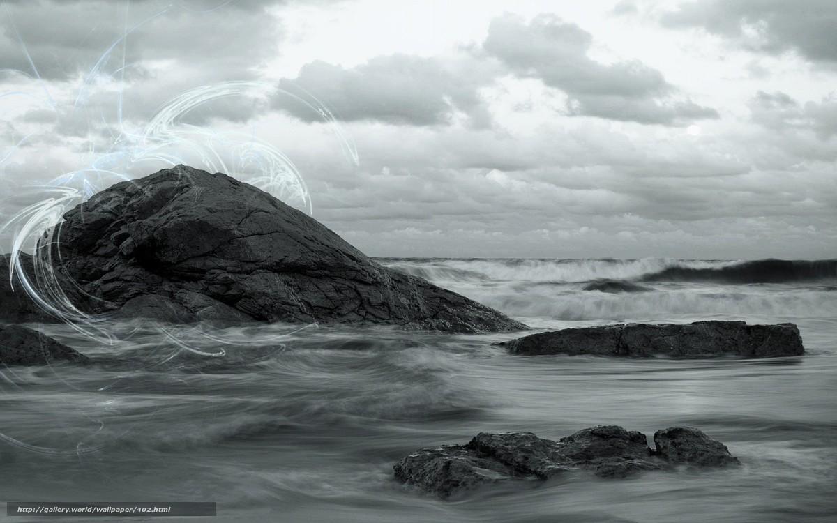 Скачать обои волны,  скалы,  небо,  природа бесплатно для рабочего стола в разрешении 1920x1200 — картинка №402