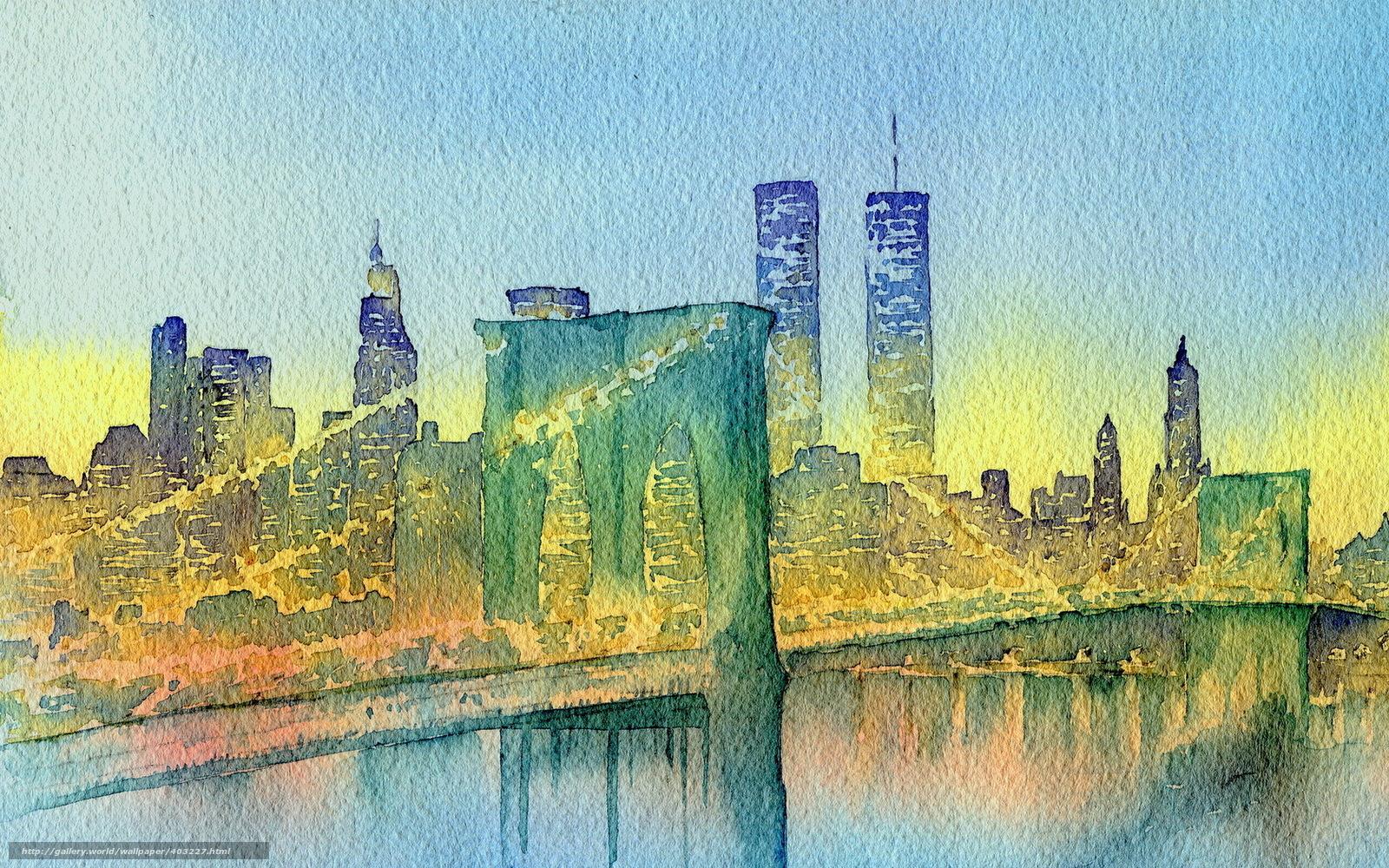 Download wallpaper city,  bridge,  watercolor free desktop wallpaper in the resolution 1680x1050 — picture №403227