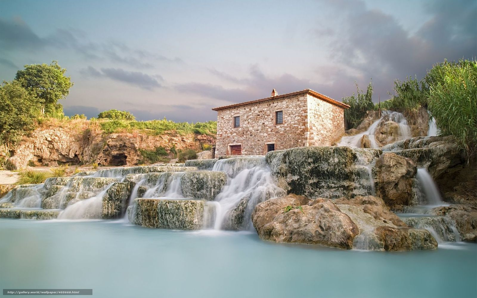 Download wallpaper Saturnia,  Italy,  waterfalls,  nature free desktop wallpaper in the resolution 1680x1050 — picture №405668
