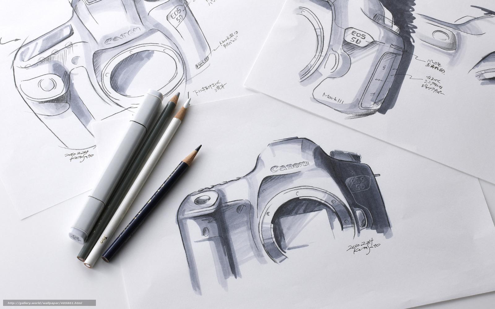 Beliebt Tlcharger Fond d'ecran appareil photo, dessin, croquis, Crayons  CW88