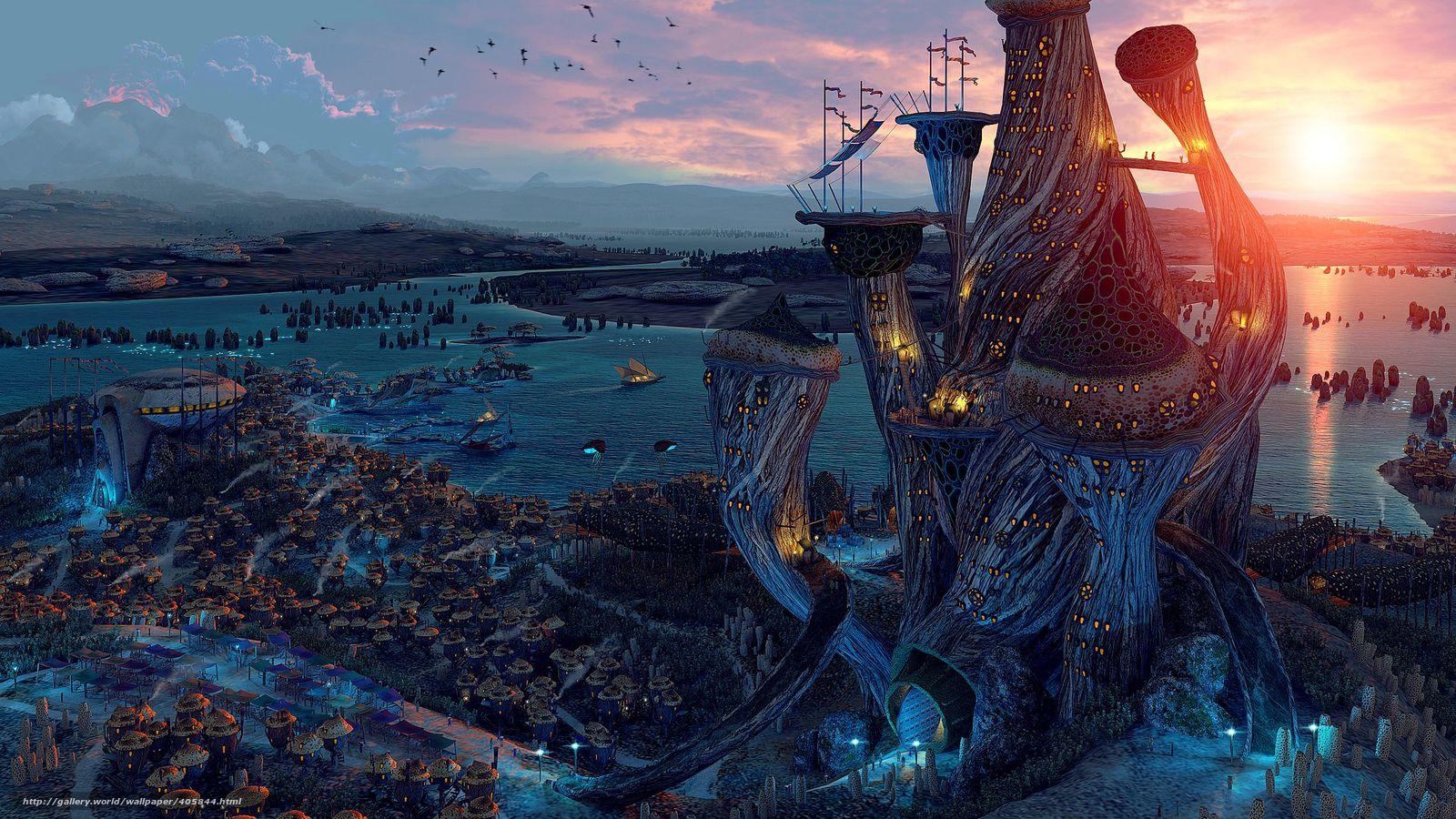 Descargar gratis The Elder Scrolls V,  Ciudad,  juego Fondos de escritorio en la resolucin 2500x1406 — imagen №405844