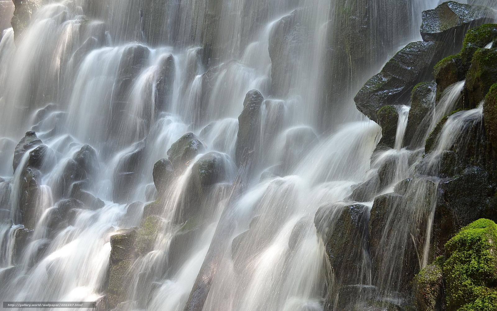 Скачать обои Водопад Рамона,  Орегон,  камни,  мох бесплатно для рабочего стола в разрешении 1680x1050 — картинка №406487