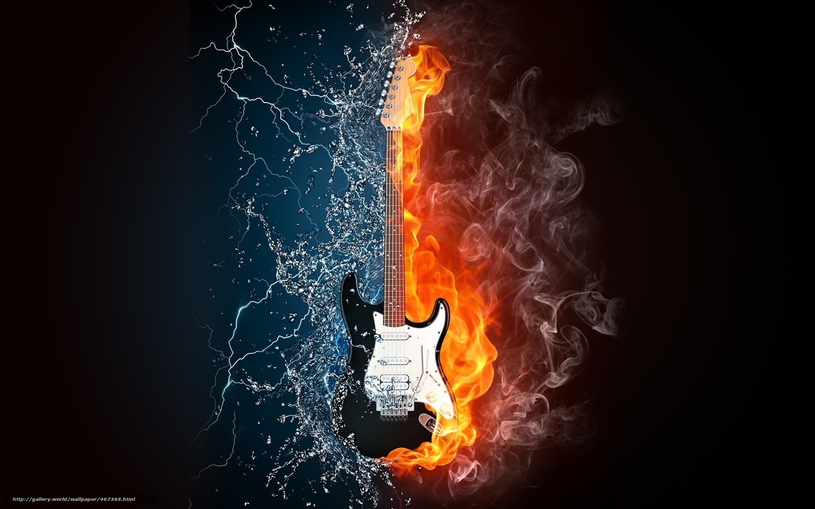 Download wallpaper guitar,  fire,  water,  Lightning free desktop wallpaper in the resolution 1680x1050 — picture №407395