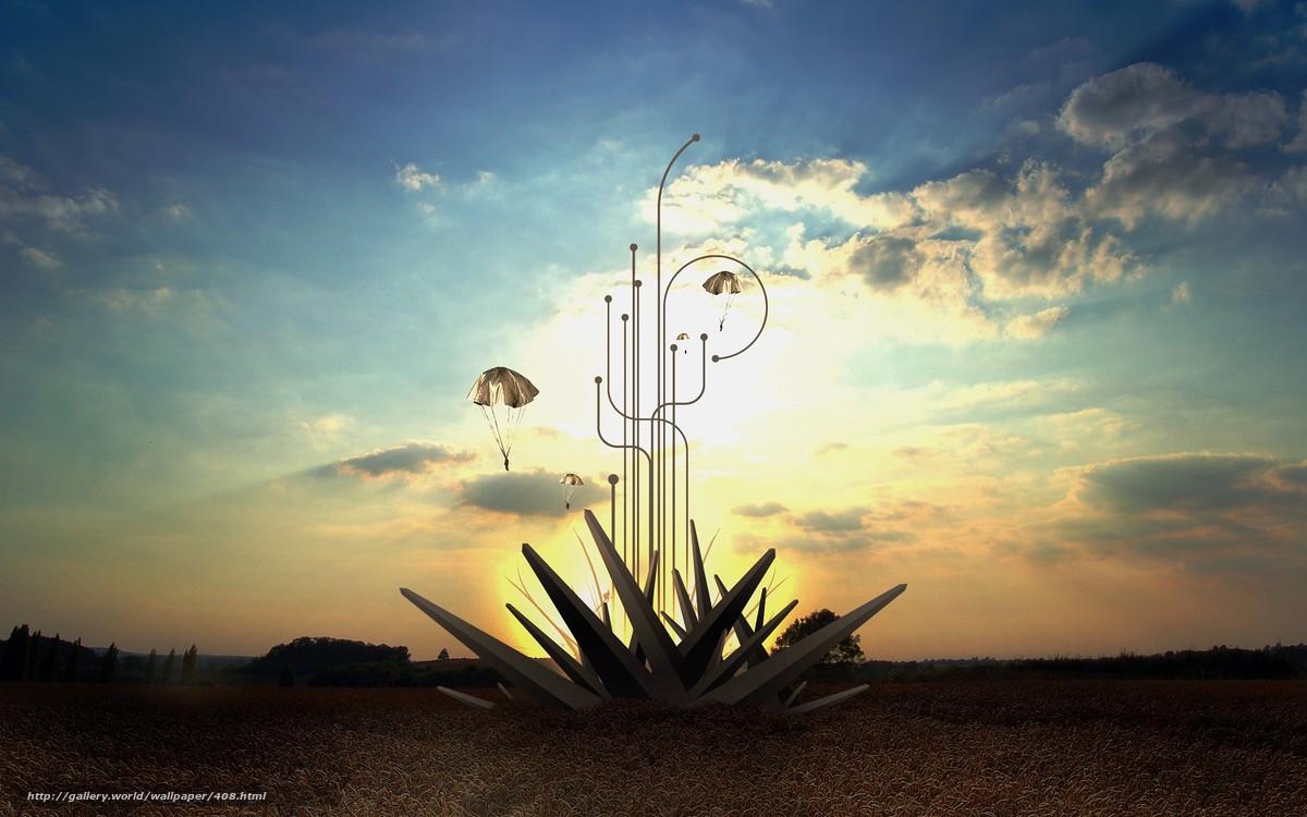 Скачать обои небо,  солнце,  пляж,  облака бесплатно для рабочего стола в разрешении 2560x1600 — картинка №408