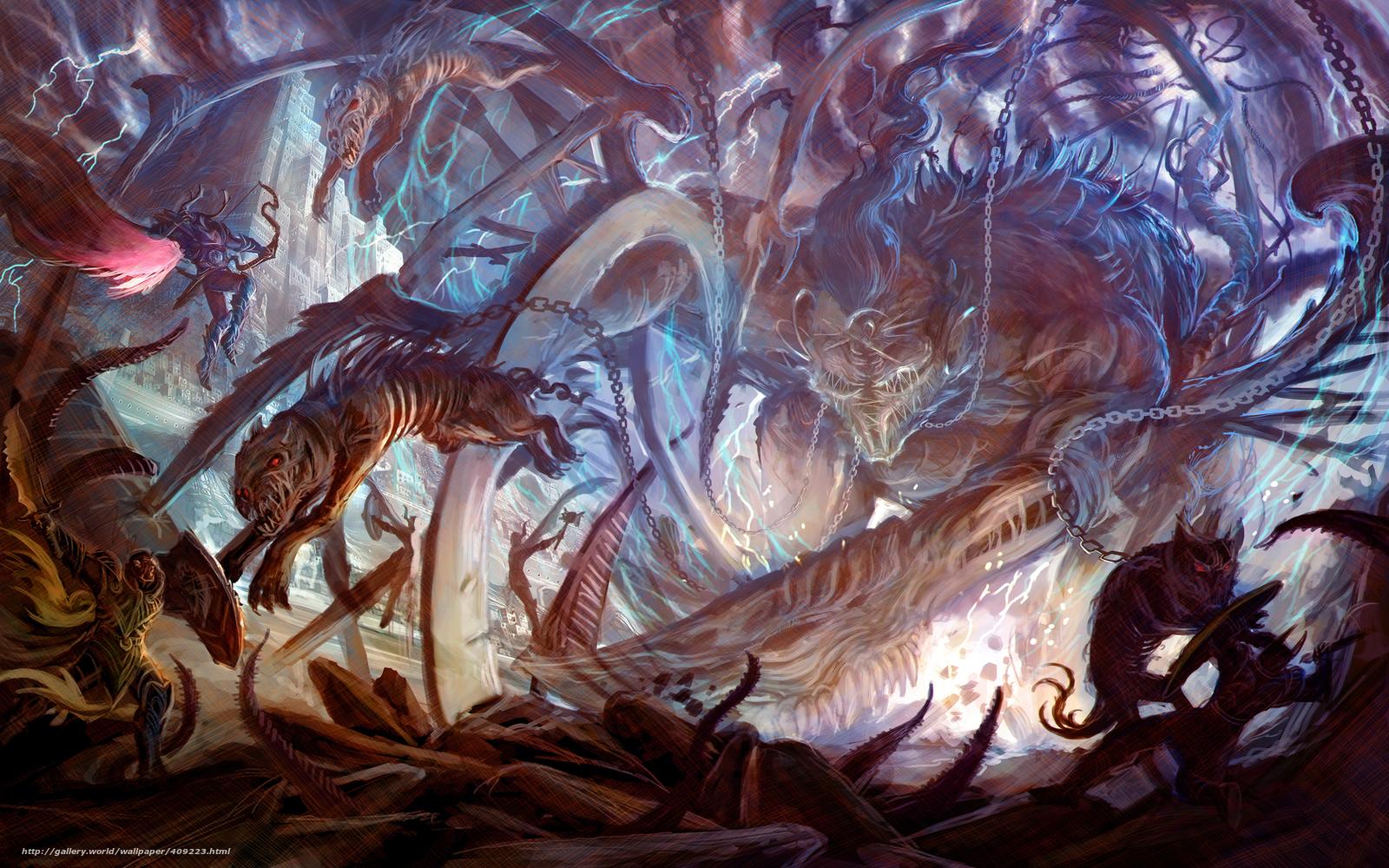 Download wallpaper Art,  battle,  Monsters,  Undead free desktop wallpaper in the resolution 1680x1050 — picture №409223