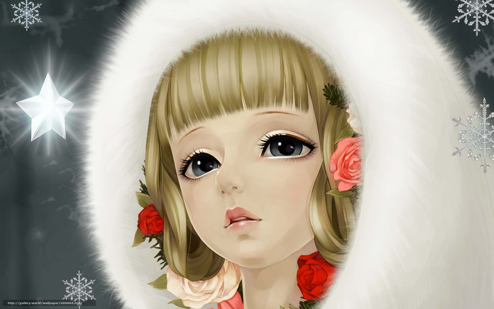 Download wallpaper girl,  Snowflakes,  fur,  Rose free desktop wallpaper in the resolution 1680x1050 — picture №409965