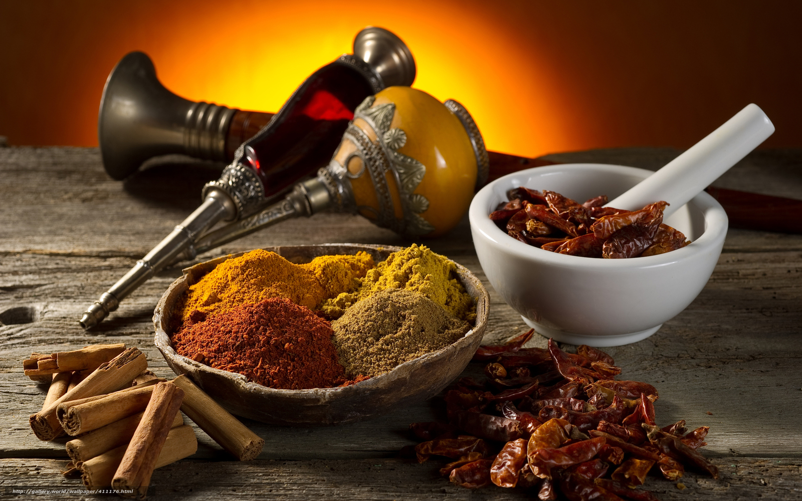 Download wallpaper table,  spices,  mortar,  curry free desktop wallpaper in the resolution 1680x1050 — picture №411176