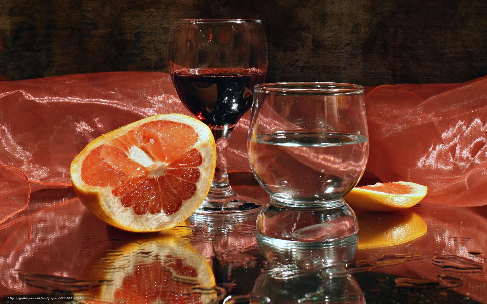 Download wallpaper still life,  goblet,  wine,  orange free desktop wallpaper in the resolution 1680x1050 — picture №411265