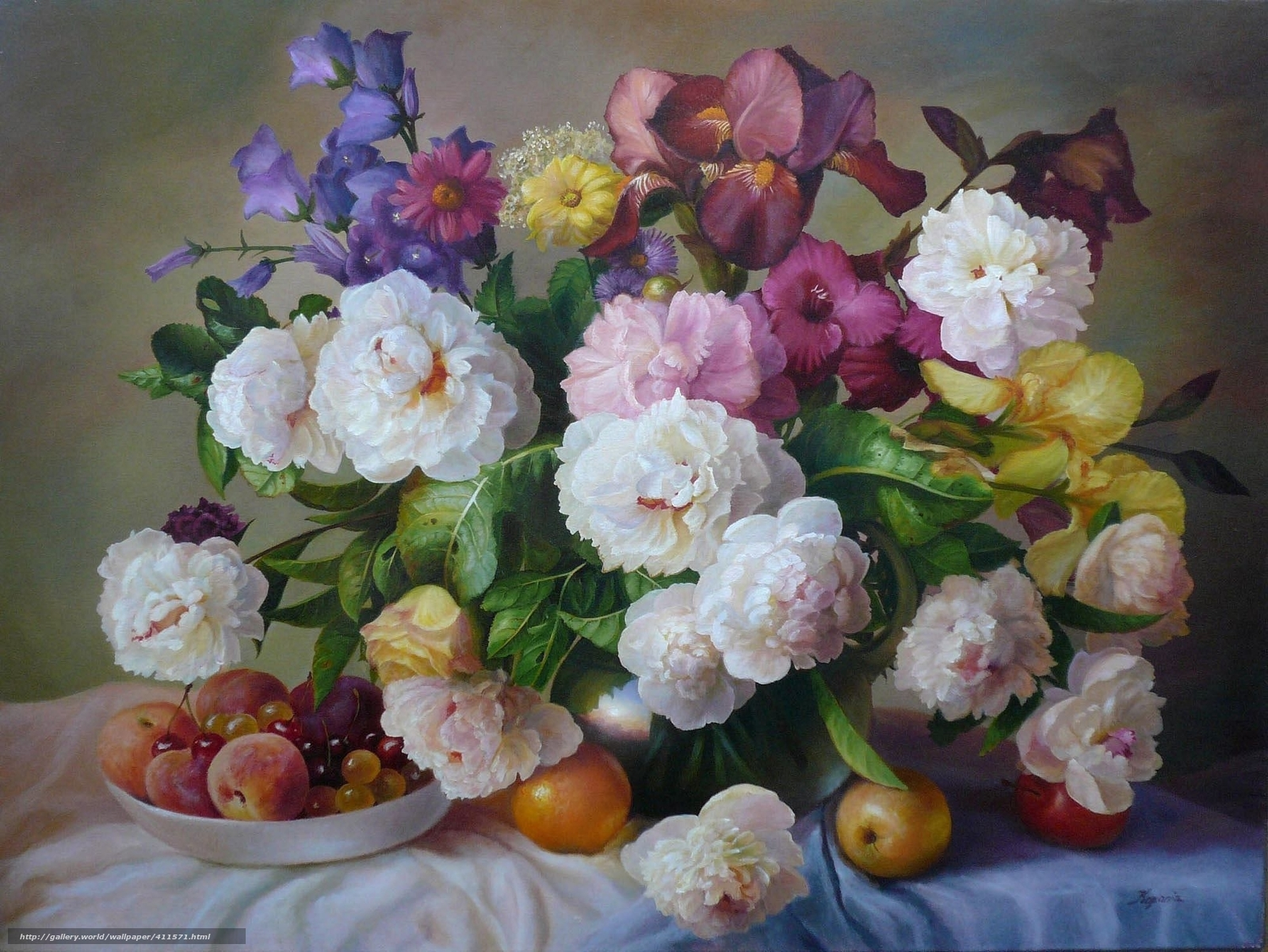 Скачать обои букет,  цветы,  фрукты,  живопись бесплатно для рабочего стола в разрешении 2000x1501 — картинка №411571