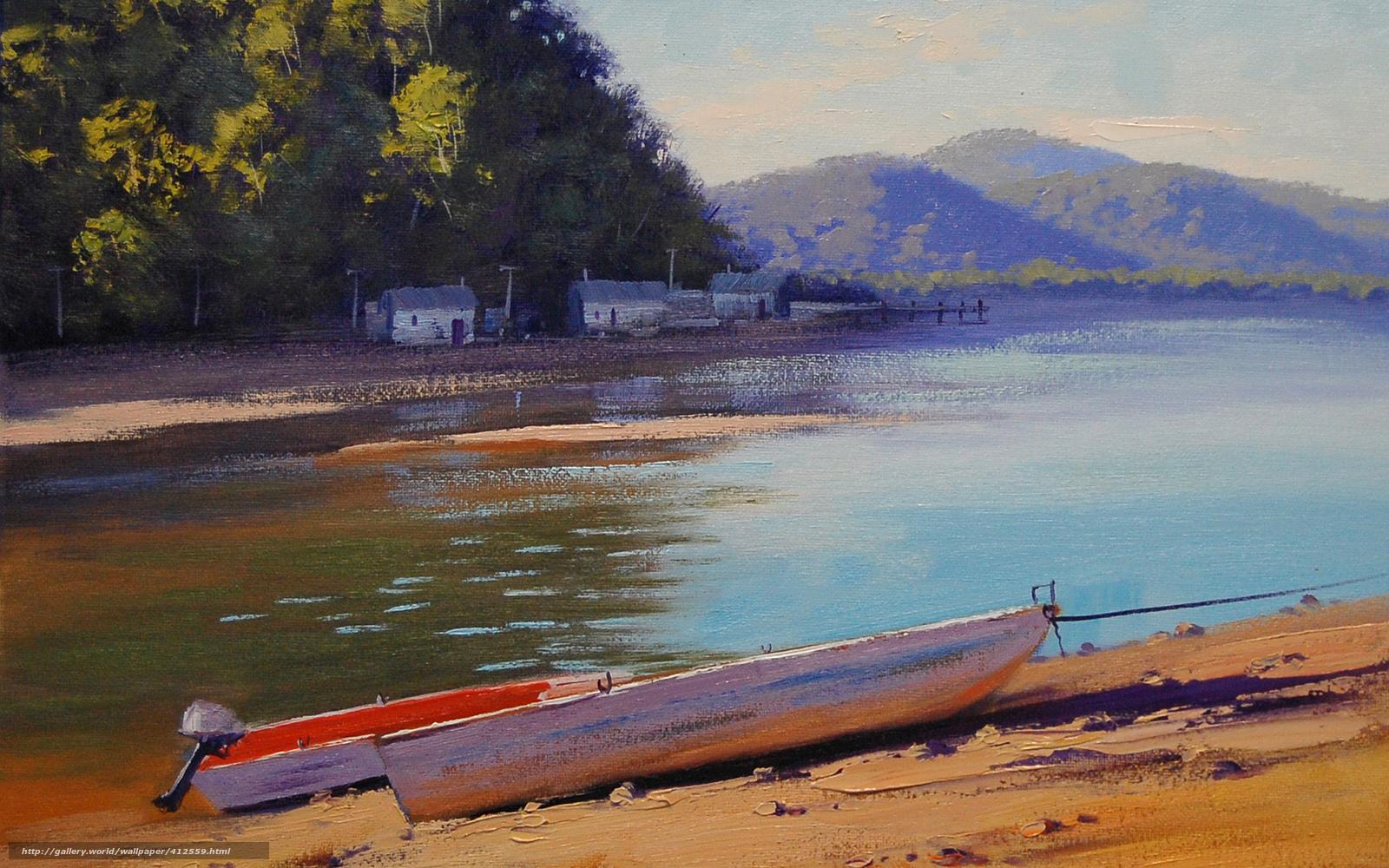 картины река лодка