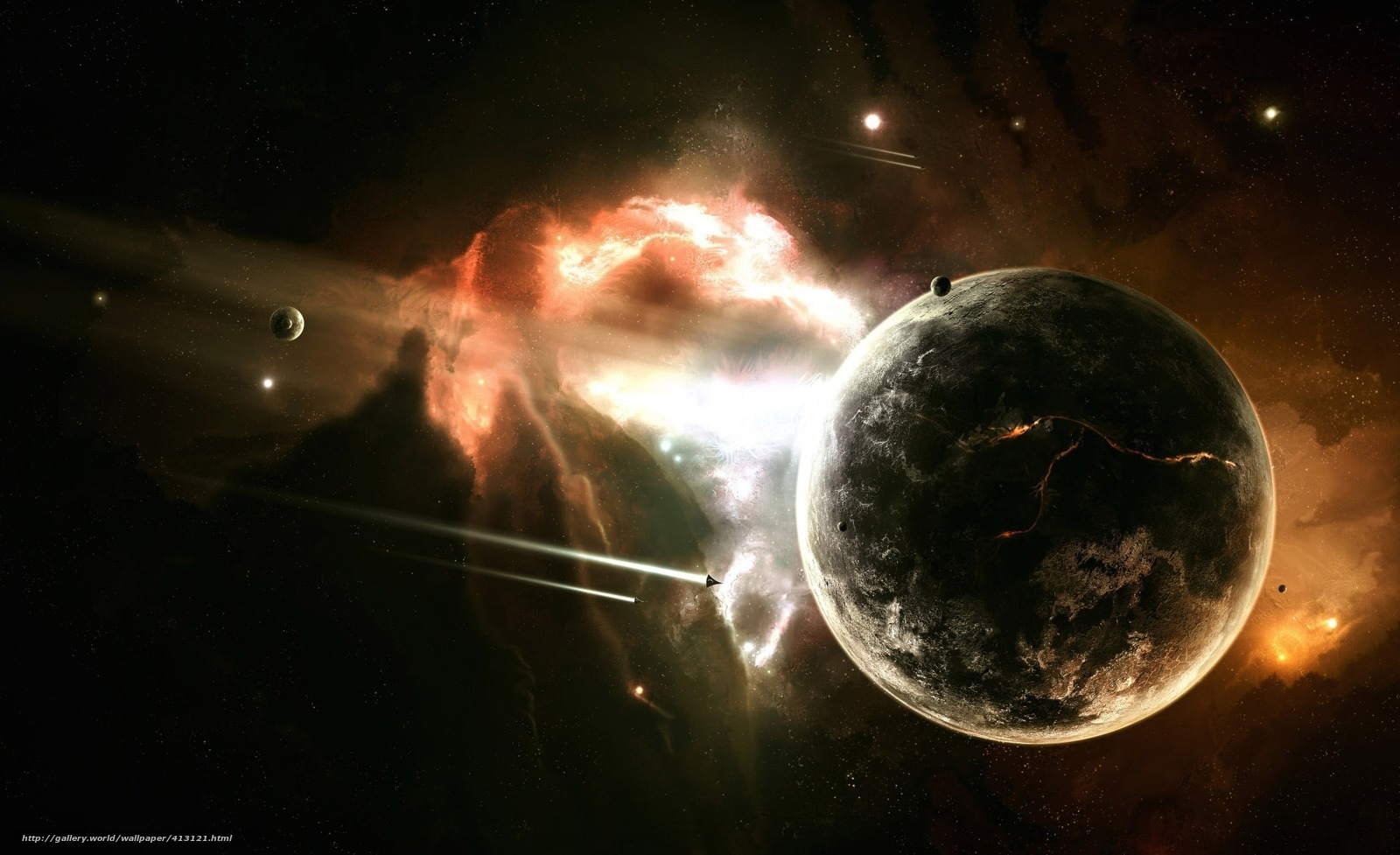 Download wallpaper planet,  nebula,  Shuttles free desktop wallpaper in the resolution 1920x1172 — picture №413121
