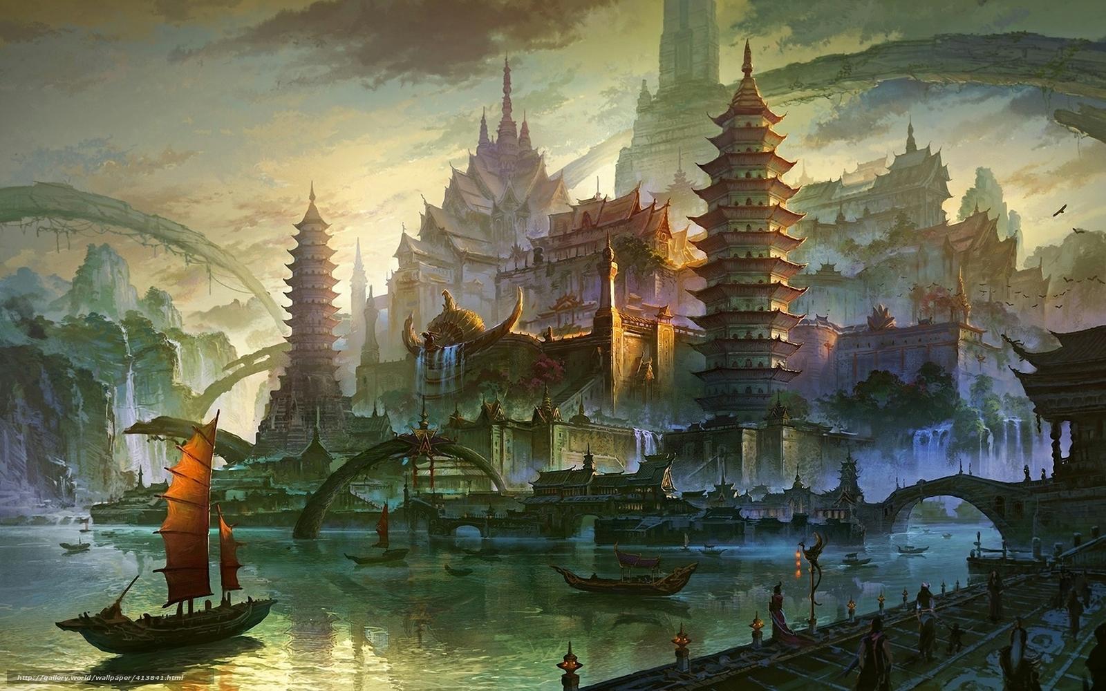Download wallpaper Art,  Asia,  sea,  river free desktop wallpaper in the resolution 1680x1050 — picture №413841