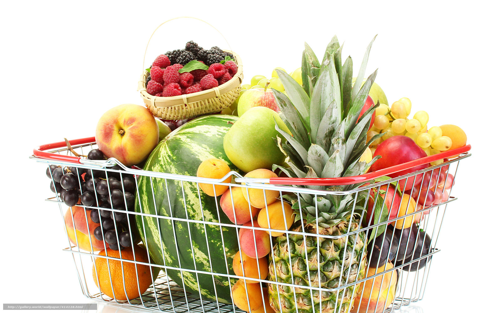 Download wallpaper basket,  fruit,  pineapple,  watermelon free desktop wallpaper in the resolution 1680x1050 — picture №414128