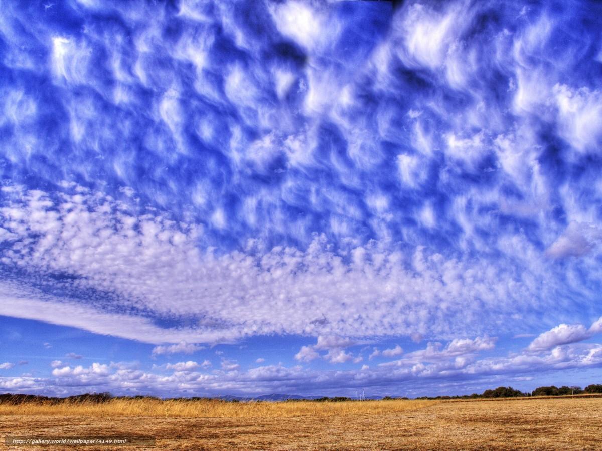 Скачать обои перистые облака,  небо,  синий бесплатно для рабочего стола в разрешении 1920x1440 — картинка №4149