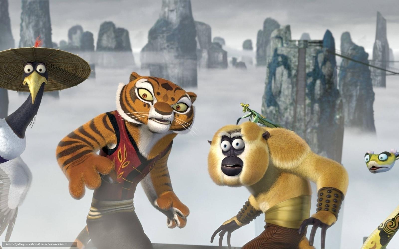 download wallpaper kung fu panda, furious five, crane, tigress free