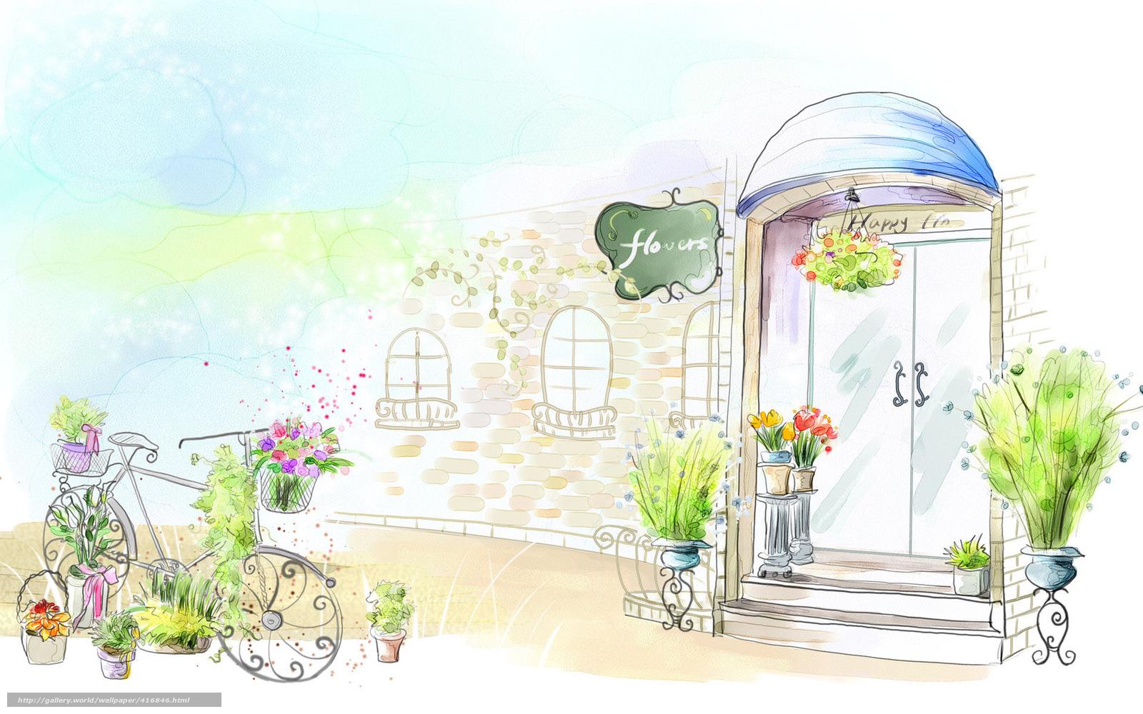 Скачать обои рисунок,  дверь,  цветы,  горшок бесплатно для рабочего стола в разрешении 1680x1050 — картинка №416846