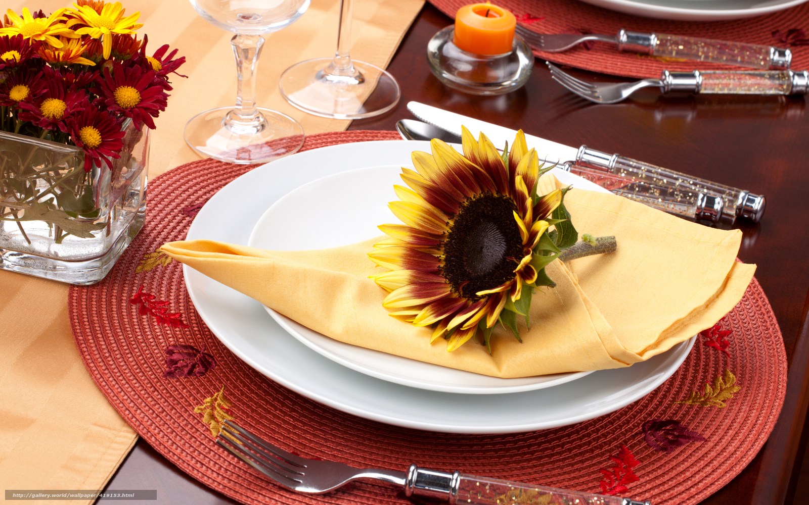 Download wallpaper Sunflower,  Flowers,  napkin,  dishes free desktop wallpaper in the resolution 1680x1050 — picture №419153