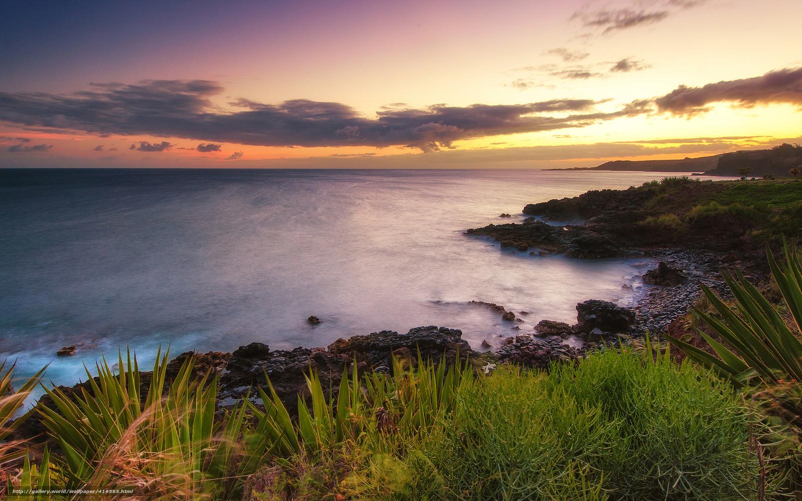 Download wallpaper Hawaii,  sunset,  ocean,  nature free desktop wallpaper in the resolution 1680x1050 — picture №419565