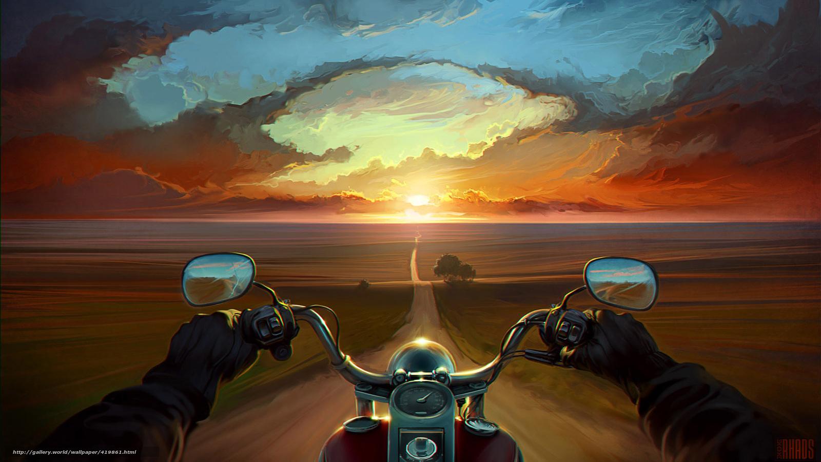 Summer Run 419861_art_doroga_ruki_zakat_motocikl_bajk_oblaka_derevya_1920x1080_www.Gde-Fon.com