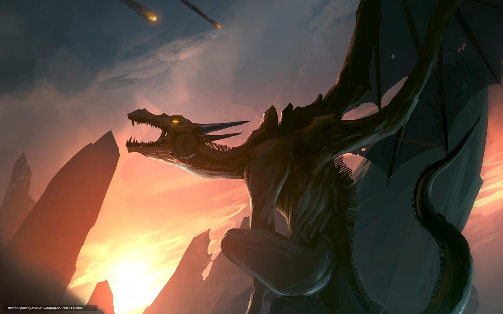 Скачать обои арт,  дракон,  скалы,  метеориты бесплатно для рабочего стола в разрешении 1680x1050 — картинка №420212