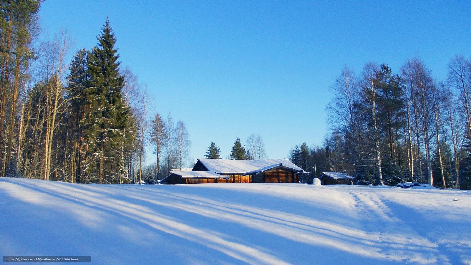 scaricare gli sfondi paesaggi,  inverno,  neve,  alberi Sfondi gratis per la risoluzione del desktop 3584x2016 — immagine №421589