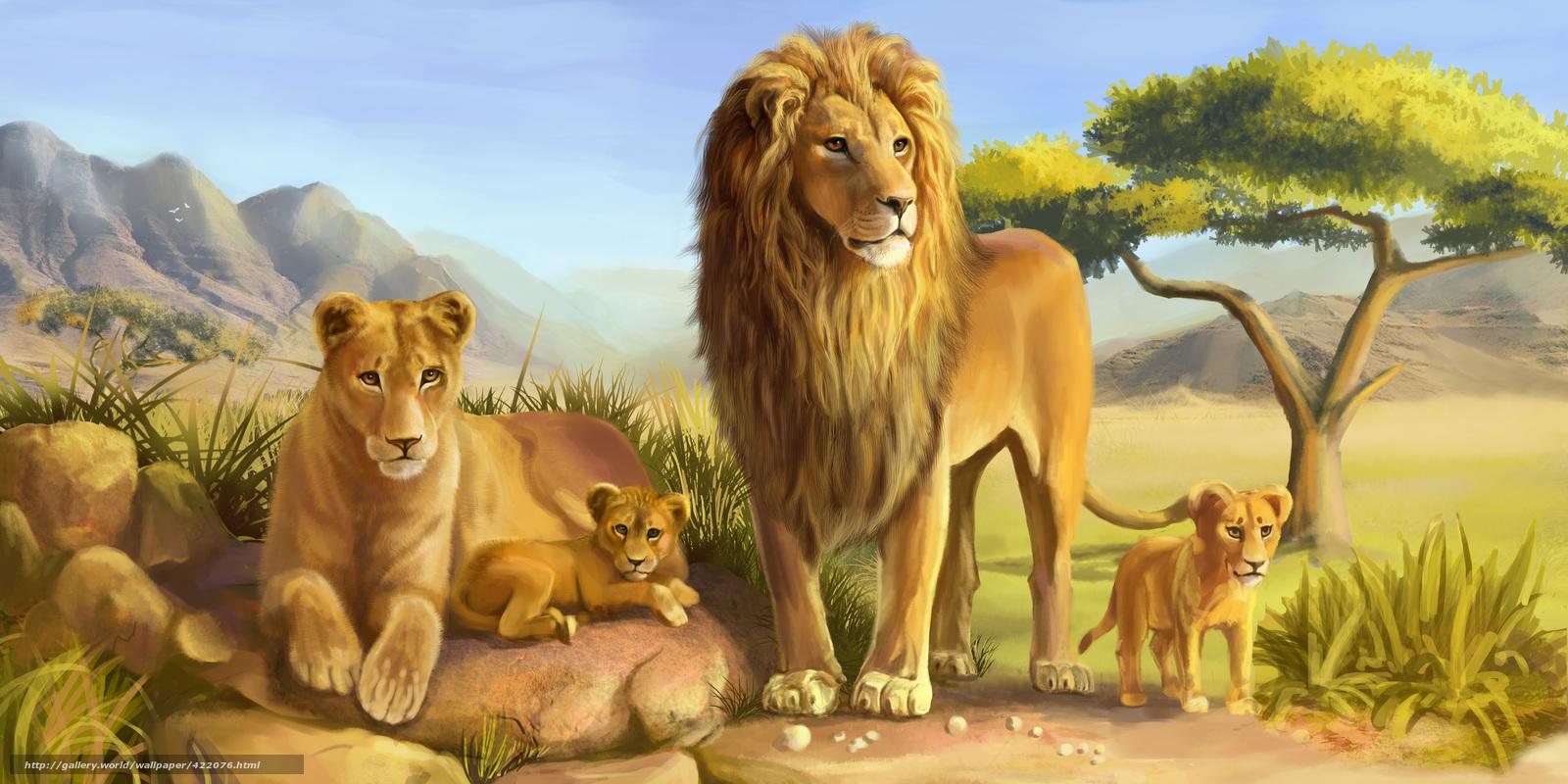 scaricare gli sfondi Arte,  Lions,  leone,  leonessa Sfondi gratis per la risoluzione del desktop 6000x3000 — immagine №422076