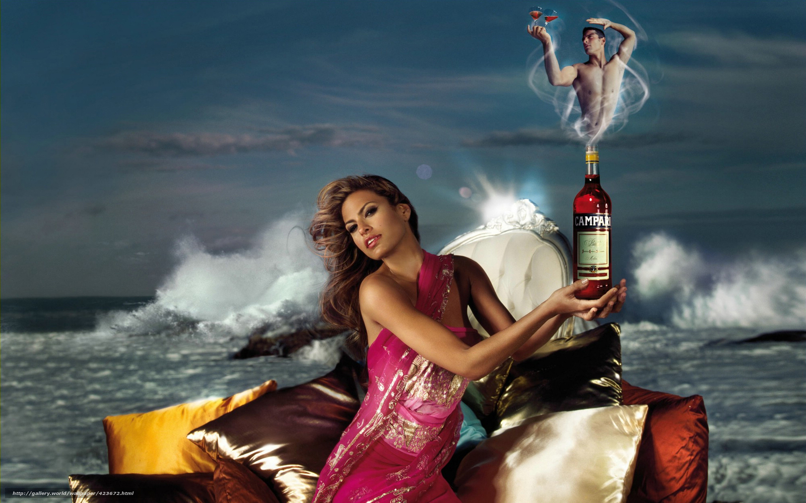 Download wallpaper woman,  man,  genie,  bottle free desktop wallpaper in the resolution 1680x1050 — picture №423672