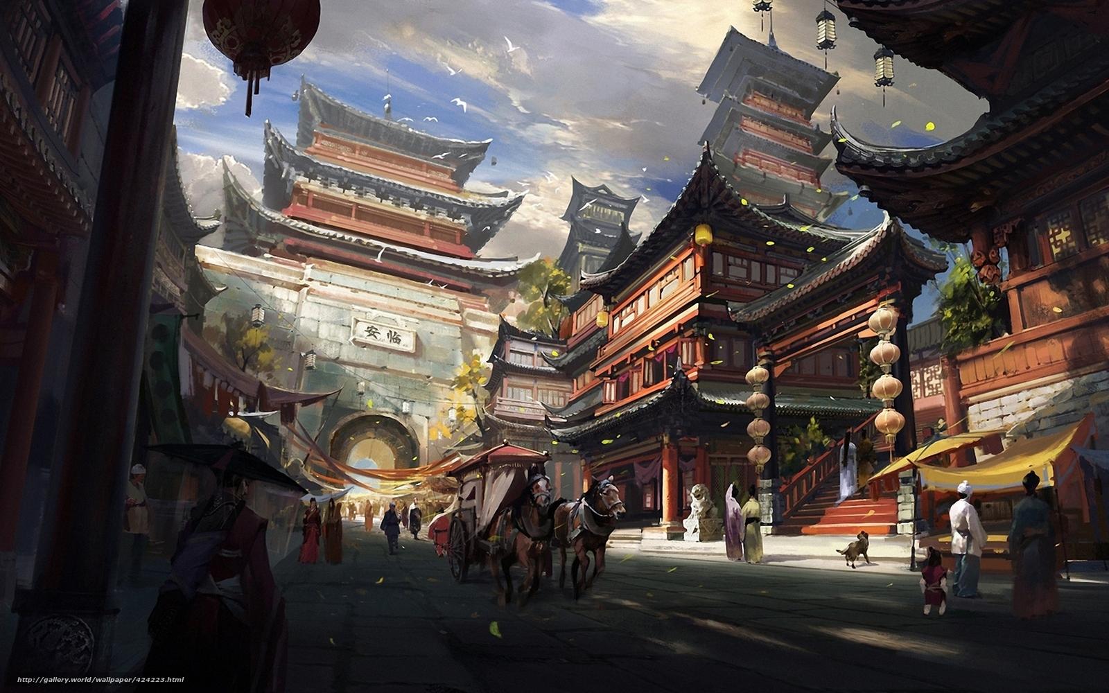 scaricare gli sfondi Arte,  citt,  paesaggio,  Asia Sfondi gratis per la risoluzione del desktop 1680x1050 — immagine №424223