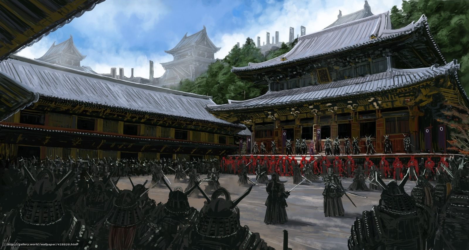 Download wallpaper Art,  Asia,  temple,  samurai free desktop wallpaper in the resolution 3000x1600 — picture №425020