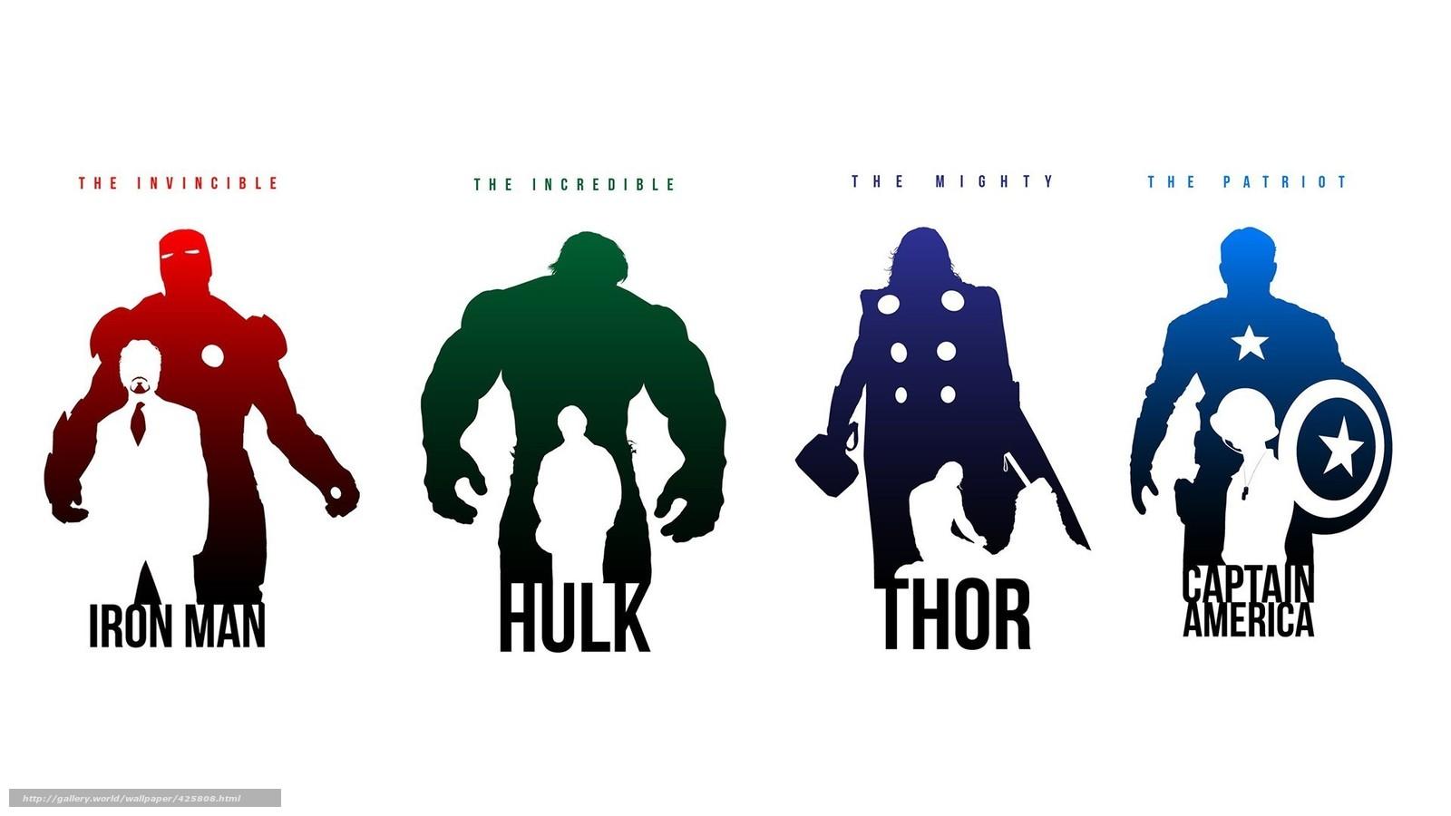Скачать обои iron man,  hulk,  thor,  captain america бесплатно для рабочего стола в разрешении 1920x1080 — картинка №425808