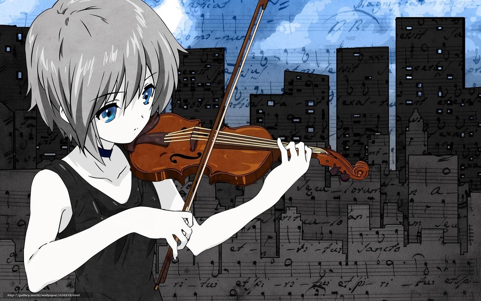 Download Wallpaper Music Violin Art Anime Free Desktop In The Resolution 1680x1050 Picture No426570