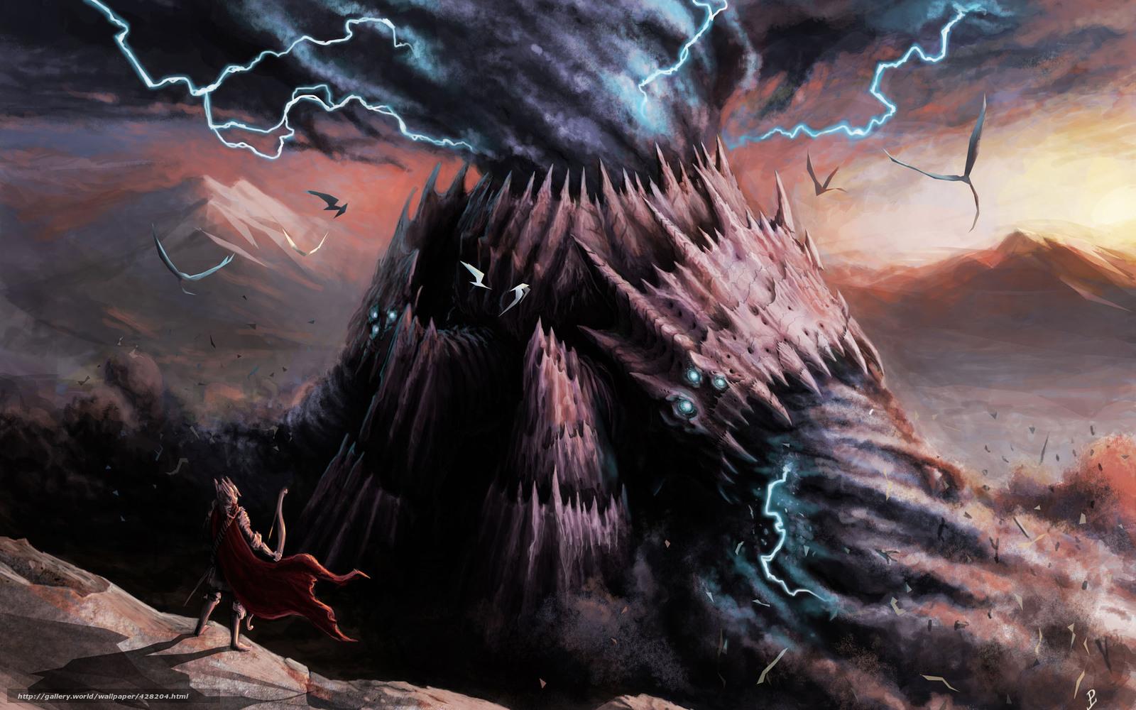 Download wallpaper monster,  hurricane,  Lightning,  Warrior free desktop wallpaper in the resolution 1680x1050 — picture №428204
